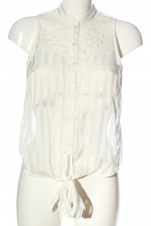 Guess Transparenz-Bluse weiß Streifenmuster Casual-Look