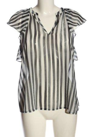 Guess Transparenz-Bluse weiß-schwarz Streifenmuster Casual-Look