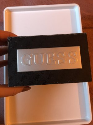 Guess Watch With Leather Strap black-grey