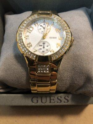 Guess Zegarek z metalowym paskiem brąz