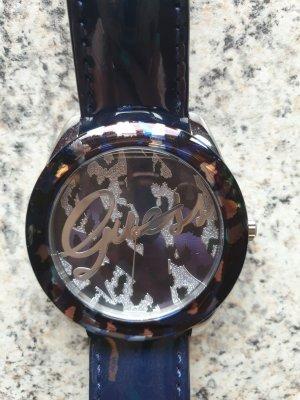 Guess Zegarek ze skórzanym paskiem niebieski-srebrny