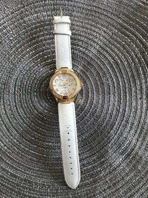 Guess Montre avec bracelet en cuir blanc-doré