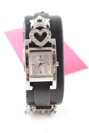 Guess Uhr mit Lederarmband schwarz-silberfarben Elegant