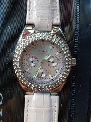 Guess Uhr mit rosa Ziffernblatt rosa Lederband und Steinchen Lünette - OVP