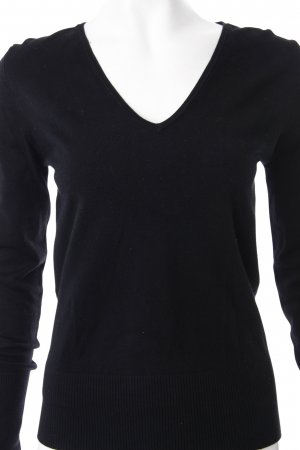 Guess V-Ausschnitt-Pullover schwarz Paillettenverzierung