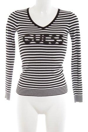 Guess V-Ausschnitt-Pullover weiß-schwarz Schriftzug gedruckt Casual-Look