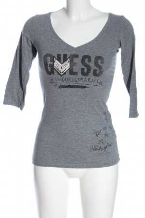 Guess V-Ausschnitt-Shirt hellgrau-schwarz meliert Casual-Look