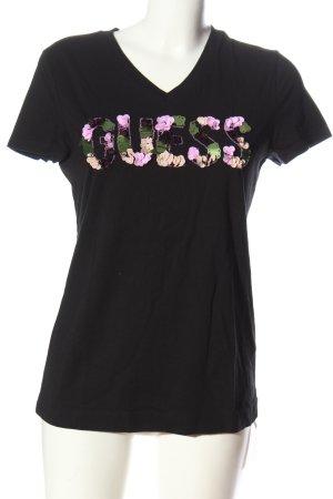 Guess V-hals shirt zwart geborduurde letters casual uitstraling