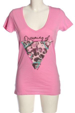 Guess V-Ausschnitt-Shirt Motivdruck Casual-Look