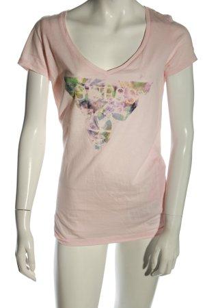 Guess Koszulka z dekoltem w kształcie litery V różowy-zielony W stylu casual