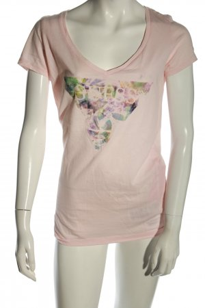 Guess V-Ausschnitt-Shirt pink-grün Motivdruck Casual-Look