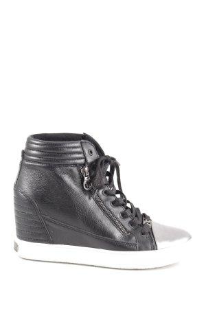 Guess Wedge Sneaker schwarz-silberfarben Casual-Look