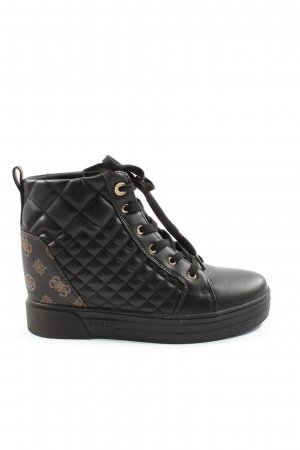 Guess Wedge sneaker zwart-bruin prints met een thema casual uitstraling