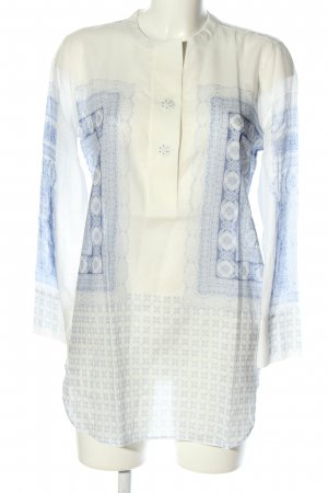 Guglielminotti Long-Bluse weiß-blau grafisches Muster Casual-Look