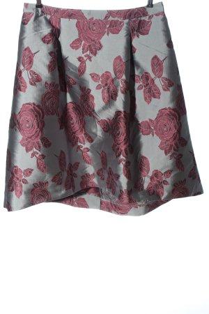 Guido Maria Kretschmer Plaid Skirt light grey-pink flower pattern elegant
