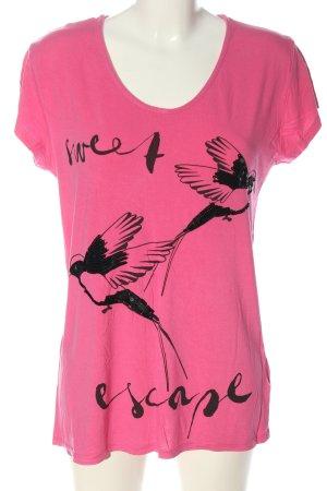 Guido Maria Kretschmer T-Shirt pink-schwarz Motivdruck Casual-Look