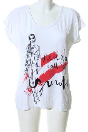 Guido Maria Kretschmer T-shirt biały-czerwony Nadruk z motywem W stylu casual