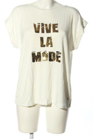 Guido Maria Kretschmer T-Shirt creme-braun Schriftzug gedruckt Casual-Look