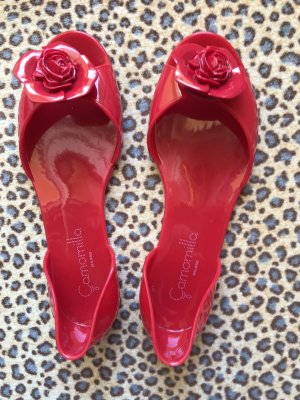 Camomilla Peep Toe Ballerinas red