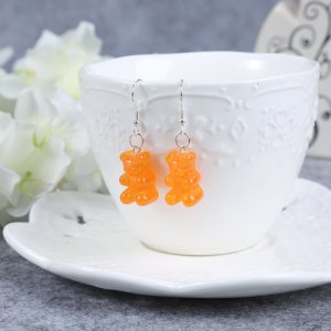 Pendientes colgante color plata-naranja neón