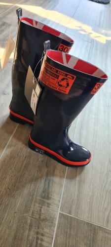 Mini Gumowe buty pomarańczowy-ciemnoniebieski