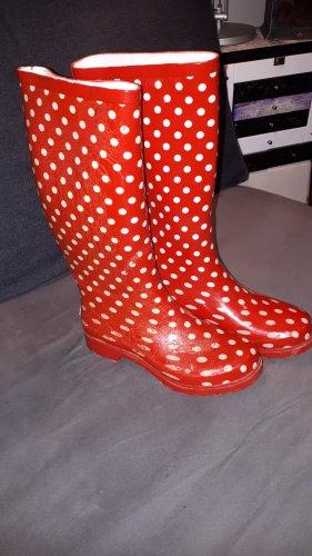Playshoes Botte en caoutchouc blanc-rouge