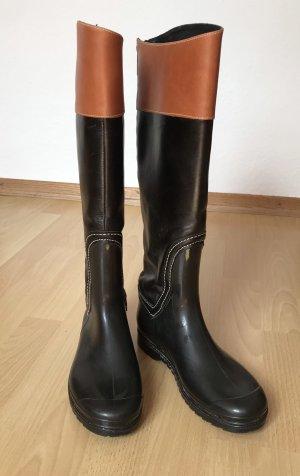 Gumowe buty czarny-brązowy