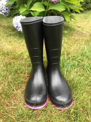 Kamik Gumowe buty czarny-różowy Tkanina z mieszanych włókien