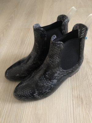 Wellington laarzen zwart-lichtgrijs