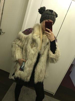 Giacca in pelliccia beige chiaro-fucsia neon