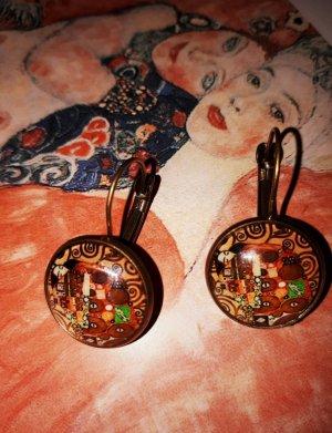 Gustav Klimt Vintage Retro Ohrringe in alt Goldene Farbe