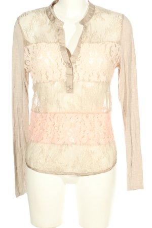 Gustav Langarm-Bluse creme-pink Blumenmuster Casual-Look
