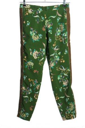 Gustav Stretchhose grün-weiß Blumenmuster Casual-Look