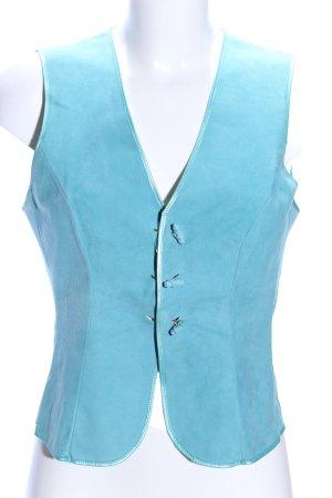 Guy Fulop Chaleco de cuero azul look vintage