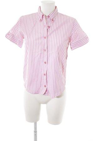 Guy Rover Kurzarm-Bluse rosa-weiß Streifenmuster Casual-Look
