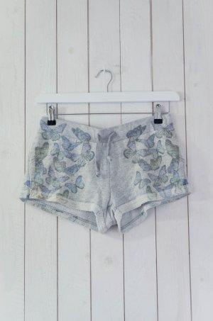 GWYNEDDS Damen Shorts Sweat-Shorts Grau Bedruckt Schmetterling Baumwollgem. Gr.S