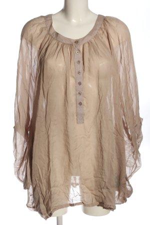 gwynedds Blusa de seda nude-gris claro elegante
