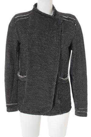 gwynedds Veste en tricot blanc-noir moucheté style décontracté