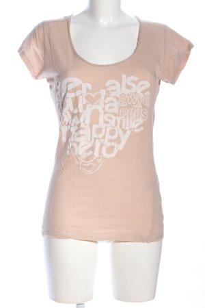 gwynedds T-Shirt nude-weiß Schriftzug gedruckt Casual-Look
