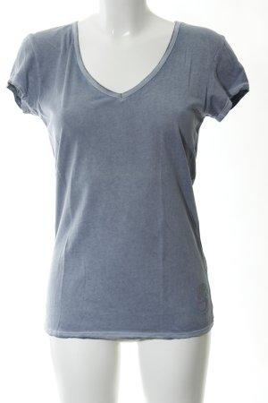 gwynedds T-Shirt blau Schriftzug gedruckt Casual-Look