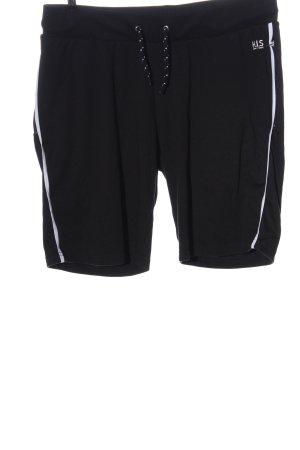 H.I.S Pantalón corto deportivo negro-blanco letras impresas look casual