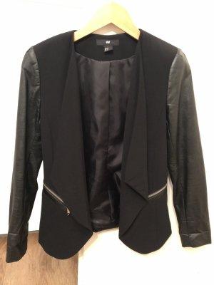 H&M Leren blazer zwart