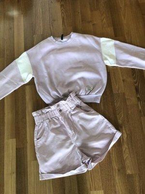 H&M°2 Teile°High Waist Shorts + Sweatshirt°flieder°Gr. 36 (Hose) und S (Sweater)°wie neu/kaum getragen