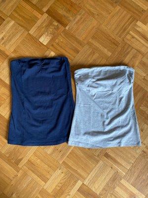 H&M Basic topje donkerblauw-lichtgrijs