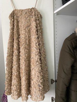 H&M 3D floral Kleid nude Größe s