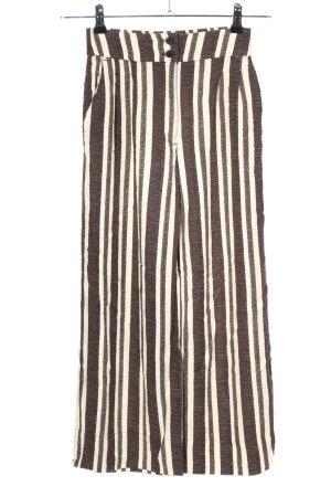 H&M Pantalón tobillero marrón-blanco look casual