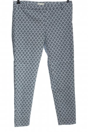 H&M 7/8 Length Trousers blue-white allover print casual look