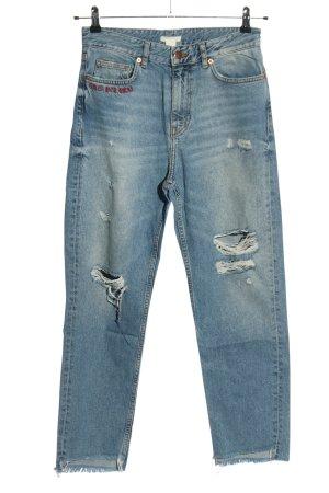 H&M 7/8 Jeans blau Schriftzug gestickt Casual-Look