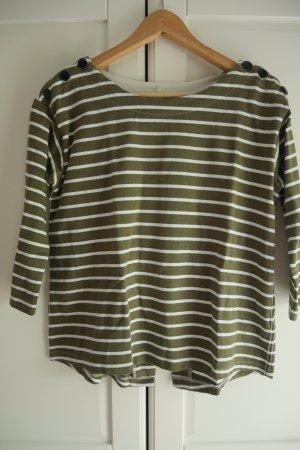 H&M Jersey de cuello redondo caqui-blanco