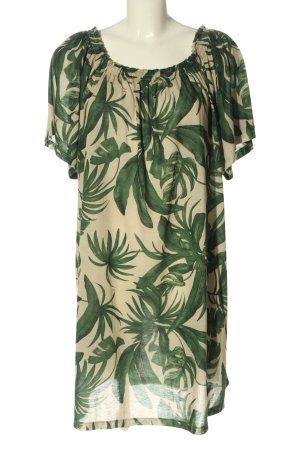 H&M A-Linien Kleid creme-grün Allover-Druck Casual-Look